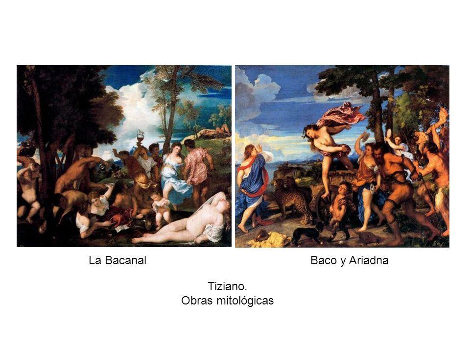 La BacanalBaco y Ariadna Tiziano. Obras mitológicas