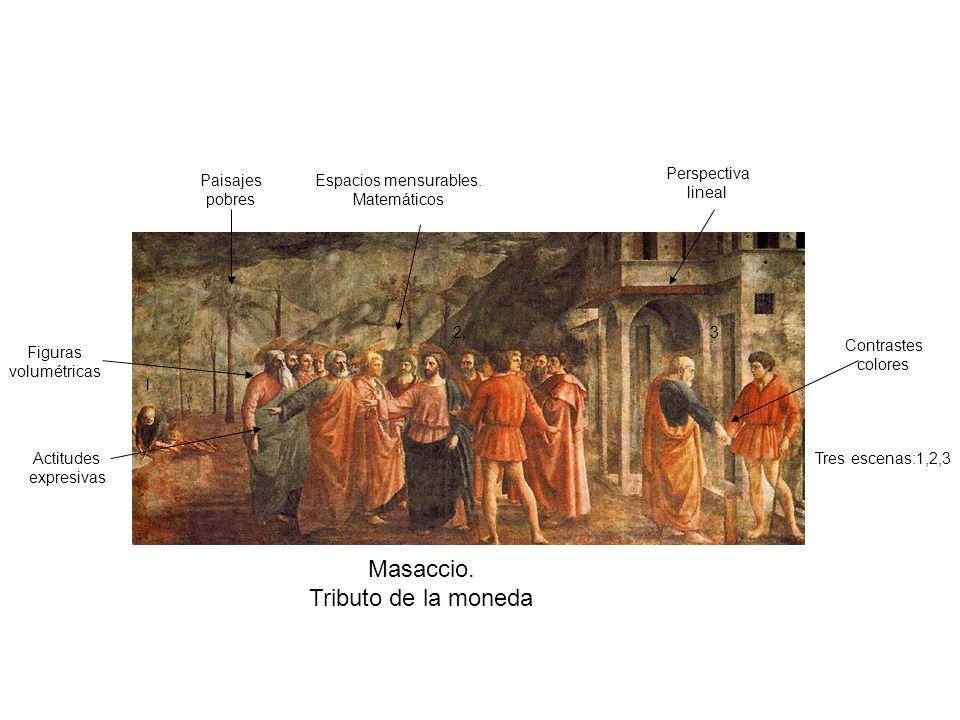 Masaccio. Tributo de la moneda Tres escenas:1,2,3 1 23 Paisajes pobres Perspectiva lineal Figuras volumétricas Espacios mensurables. Matemáticos Actit