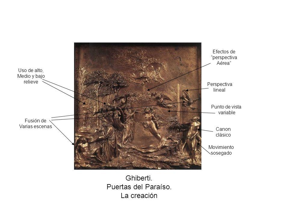 Ghiberti. Puertas del Paraíso. La creación Fusión de Varias escenas Movimiento sosegado Canon clásico Perspectiva lineal Punto de vista variable Uso d