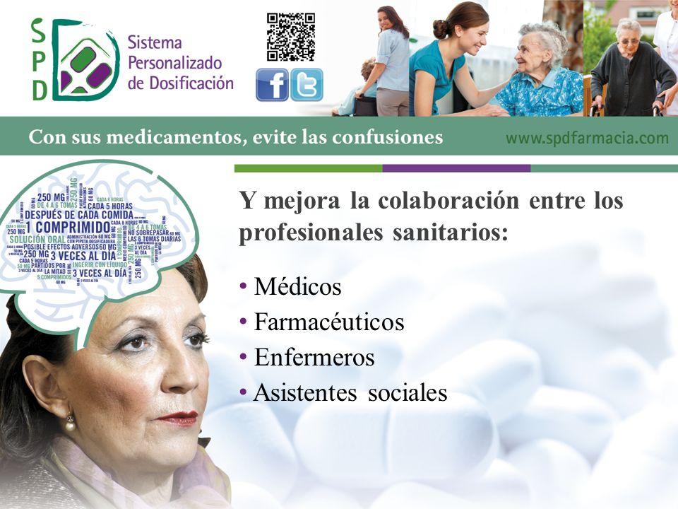 Y mejora la colaboración entre los profesionales sanitarios: M édicos F armacéuticos E nfermeros A sistentes sociales
