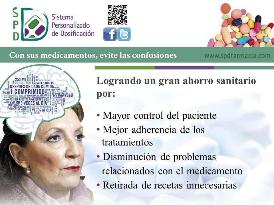 Logrando un gran ahorro sanitario por: M ayor control del paciente M ejor adherencia de los tratamientos D isminución de problemas relacionados con el