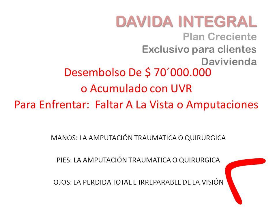 Desembolso De $ 70´000.000 o Acumulado con UVR Para Enfrentar: Faltar A La Vista o Amputaciones DAVIDA INTEGRAL DAVIDA INTEGRAL Plan Creciente Exclusi