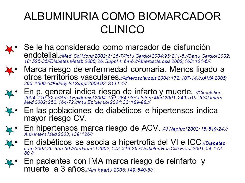 ALBUMINURIA COMO BIOMARCADOR CLINICO Se le ha considerado como marcador de disfunción endotelial.//Med Sci Monit 2002; 8; 25-7//Int J Cardiol 2004;93: