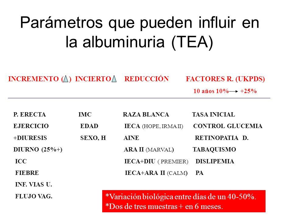 Parámetros que pueden influir en la albuminuria (TEA) INCREMENTO ( ) INCIERTO REDUCCIÓN FACTORES R. (UKPDS) 10 años 10% +25% P. ERECTA IMC RAZA BLANCA