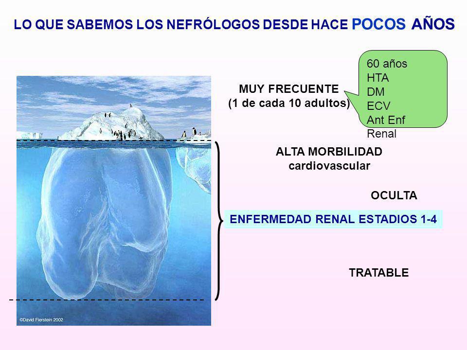 ENFERMEDAD RENAL ESTADIOS 1-4 ALTA MORBILIDAD cardiovascular TRATABLE LO QUE SABEMOS LOS NEFRÓLOGOS DESDE HACE POCOS AÑOS OCULTA MUY FRECUENTE (1 de c