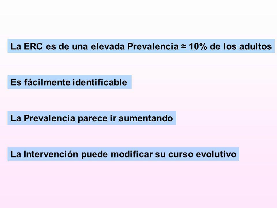 La ERC es de una elevada Prevalencia 10% de los adultos Es fácilmente identificable La Prevalencia parece ir aumentando La Intervención puede modifica