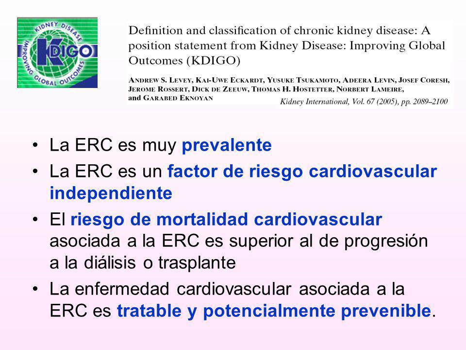 La ERC es muy prevalente La ERC es un factor de riesgo cardiovascular independiente El riesgo de mortalidad cardiovascular asociada a la ERC es superi