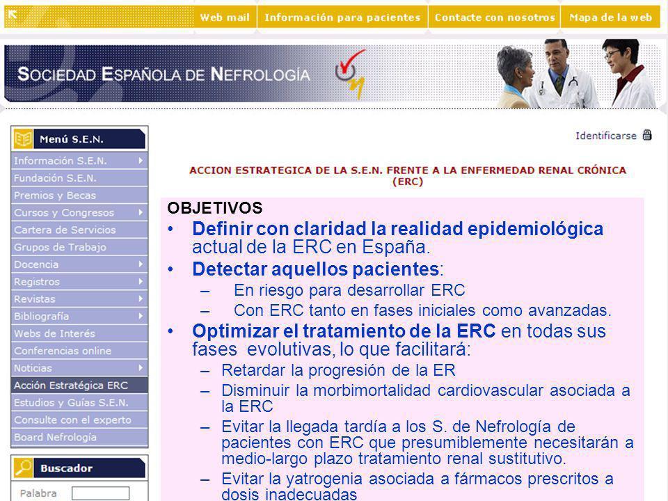 OBJETIVOS Definir con claridad la realidad epidemiológica actual de la ERC en España. Detectar aquellos pacientes: – –En riesgo para desarrollar ERC –