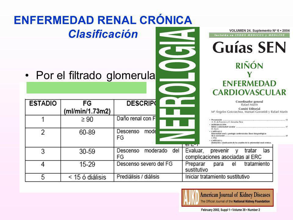 ENFERMEDAD RENAL CRÓNICA Clasificación Por el filtrado glomerular