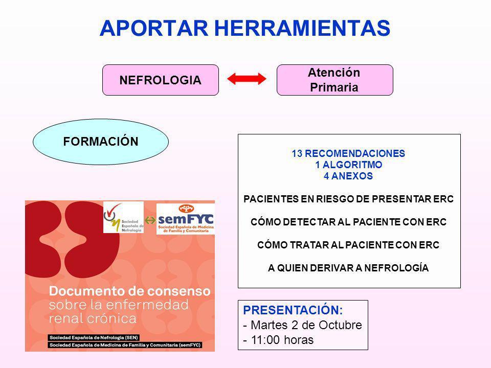 APORTAR HERRAMIENTAS NEFROLOGIA Atención Primaria FORMACIÓN 13 RECOMENDACIONES 1 ALGORITMO 4 ANEXOS PACIENTES EN RIESGO DE PRESENTAR ERC CÓMO DETECTAR