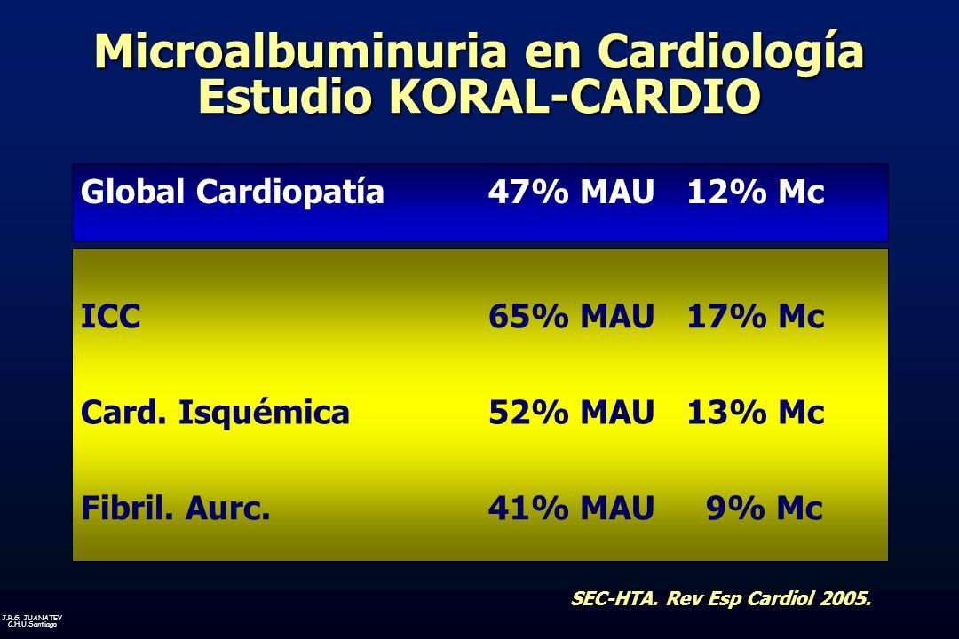J.R.G.JUANATEY C.H.U.Santiago Global Cardiopatía47% MAU 12% Mc ICC65% MAU 17% Mc Card.