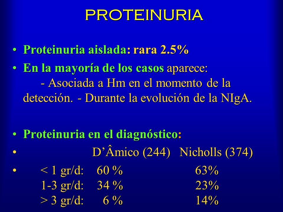PROTEINURIA Proteinuria aislada: rara 2.5%Proteinuria aislada: rara 2.5% En la mayoría de los casos aparece: - Asociada a Hm en el momento de la detec