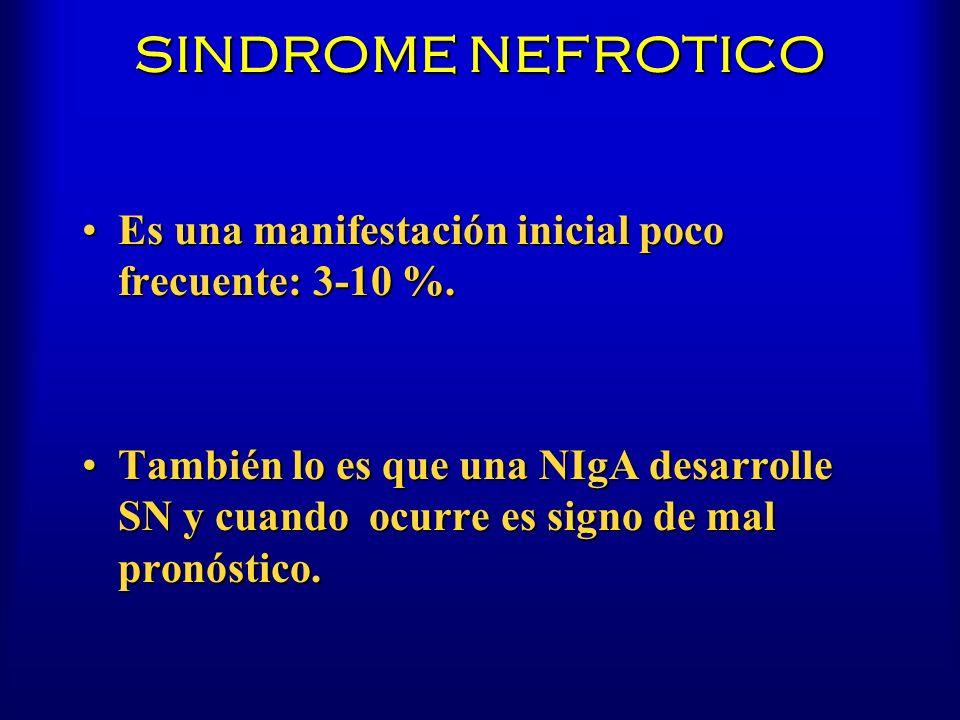 SINDROME NEFROTICO Es una manifestación inicial poco frecuente: 3-10 %.Es una manifestación inicial poco frecuente: 3-10 %. También lo es que una NIgA