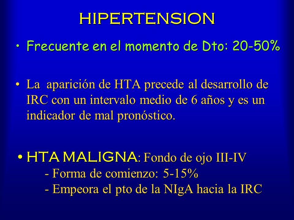 HIPERTENSION Frecuente en el momento de Dto: 20-50%Frecuente en el momento de Dto: 20-50% La aparición de HTA precede al desarrollo de IRC con un inte