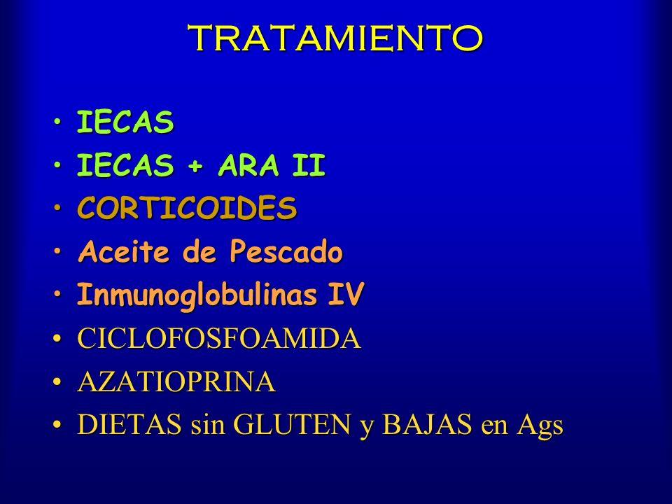 TRATAMIENTO IECASIECAS IECAS + ARA IIIECAS + ARA II CORTICOIDESCORTICOIDES Aceite de PescadoAceite de Pescado Inmunoglobulinas IVInmunoglobulinas IV C