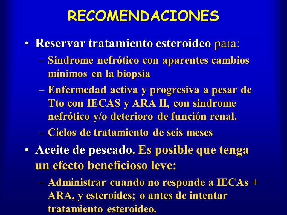 RECOMENDACIONES Reservar tratamiento esteroideo para:Reservar tratamiento esteroideo para: –Sindrome nefrótico con aparentes cambios mínimos en la bio
