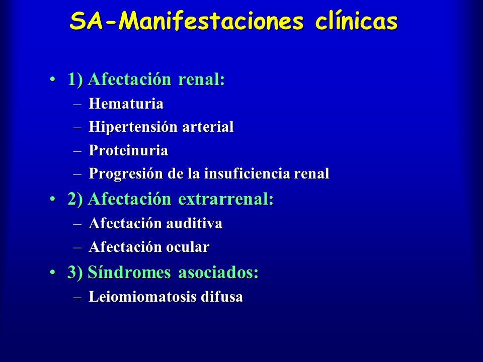 SA-Manifestaciones clínicas 1) Afectación renal:1) Afectación renal: –Hematuria –Hipertensión arterial –Proteinuria –Progresión de la insuficiencia re