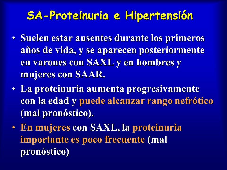 SA-Proteinuria e Hipertensión Suelen estar ausentes durante los primeros años de vida, y se aparecen posteriormente en varones con SAXL y en hombres y