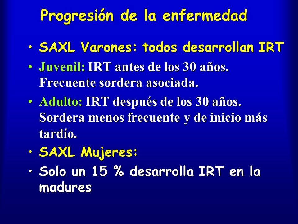 Progresión de la enfermedad SAXL Varones: todos desarrollan IRTSAXL Varones: todos desarrollan IRT Juvenil: IRT antes de los 30 años. Frecuente sorder