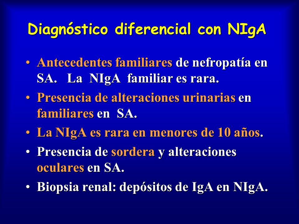 Diagnóstico diferencial con NIgA Antecedentes familiares de nefropatía en SA. La NIgA familiar es rara.Antecedentes familiares de nefropatía en SA. La