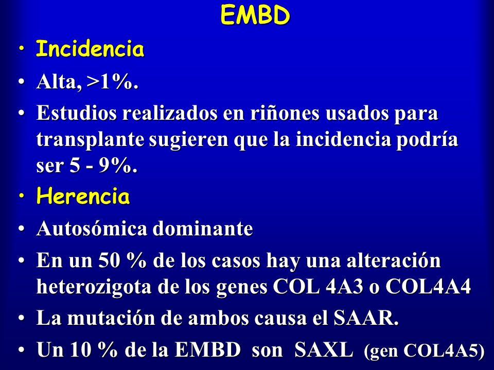 EMBD IncidenciaIncidencia Alta, >1%.Alta, >1%. Estudios realizados en riñones usados para transplante sugieren que la incidencia podría ser 5 - 9%.Est