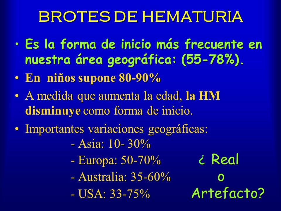 BROTES DE HEMATURIA Es la forma de inicio más frecuente en nuestra área geográfica: (55-78%).Es la forma de inicio más frecuente en nuestra área geogr