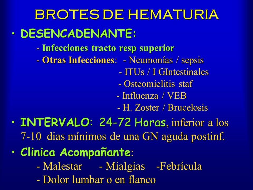 BROTES DE HEMATURIA DESENCADENANTE: - Infecciones tracto resp superior - Otras Infecciones: - Neumonías / sepsis - ITUs / I GIntestinales - Osteomieli