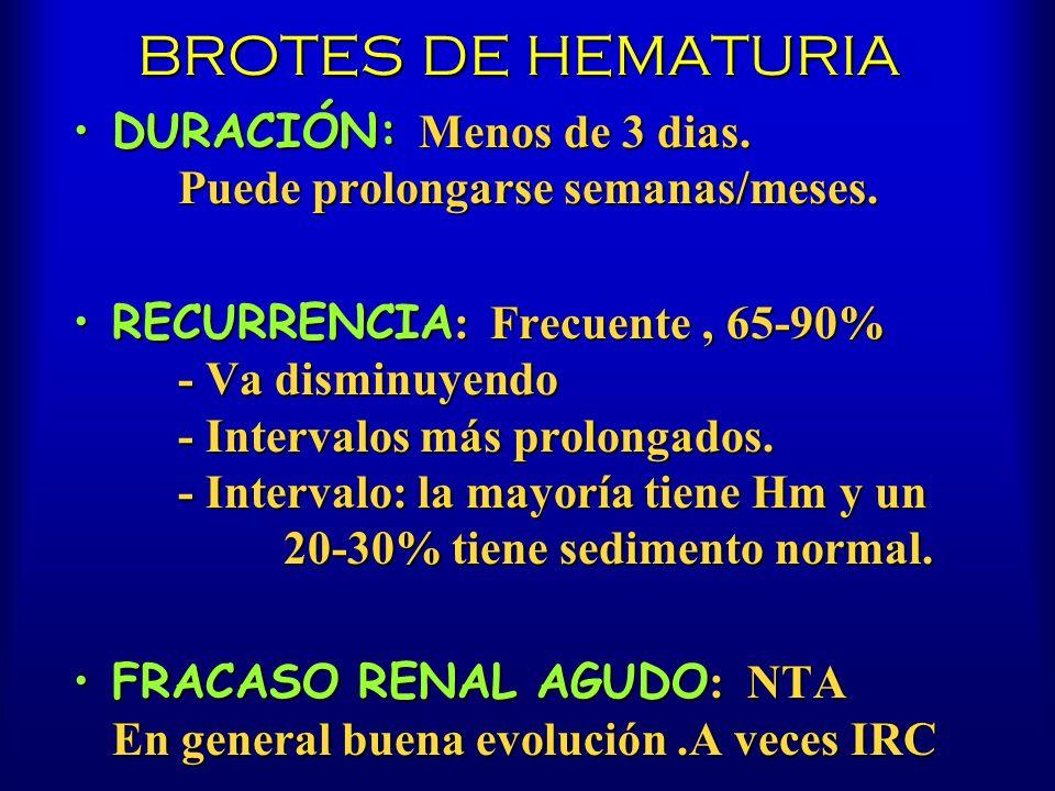 BROTES DE HEMATURIA DURACIÓN: Menos de 3 dias. Puede prolongarse semanas/meses.DURACIÓN: Menos de 3 dias. Puede prolongarse semanas/meses. RECURRENCIA