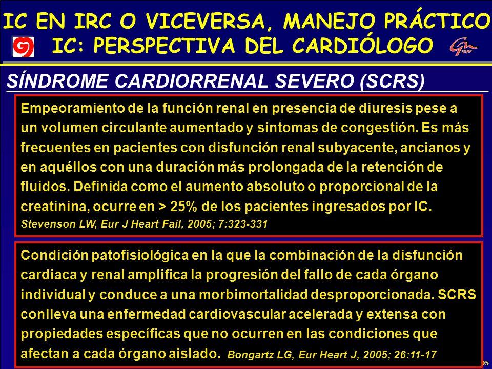 IC EN IRC O VICEVERSA, MANEJO PRÁCTICO IC: PERSPECTIVA DEL CARDIÓLOGO 1ª REUNIÓN CARDIORENAL 2005 SÍNDROME CARDIORRENAL SEVERO (SCRS) Empeoramiento de
