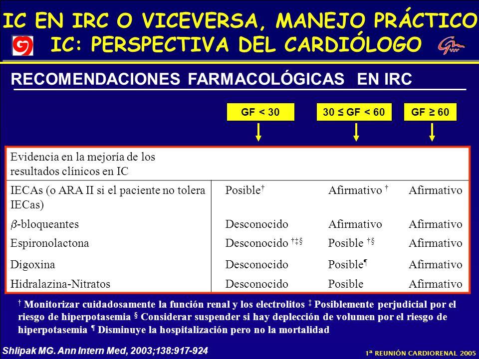 IC EN IRC O VICEVERSA, MANEJO PRÁCTICO IC: PERSPECTIVA DEL CARDIÓLOGO 1ª REUNIÓN CARDIORENAL 2005 GF < 3030 GF < 60GF 60 Evidencia en la mejoría de lo
