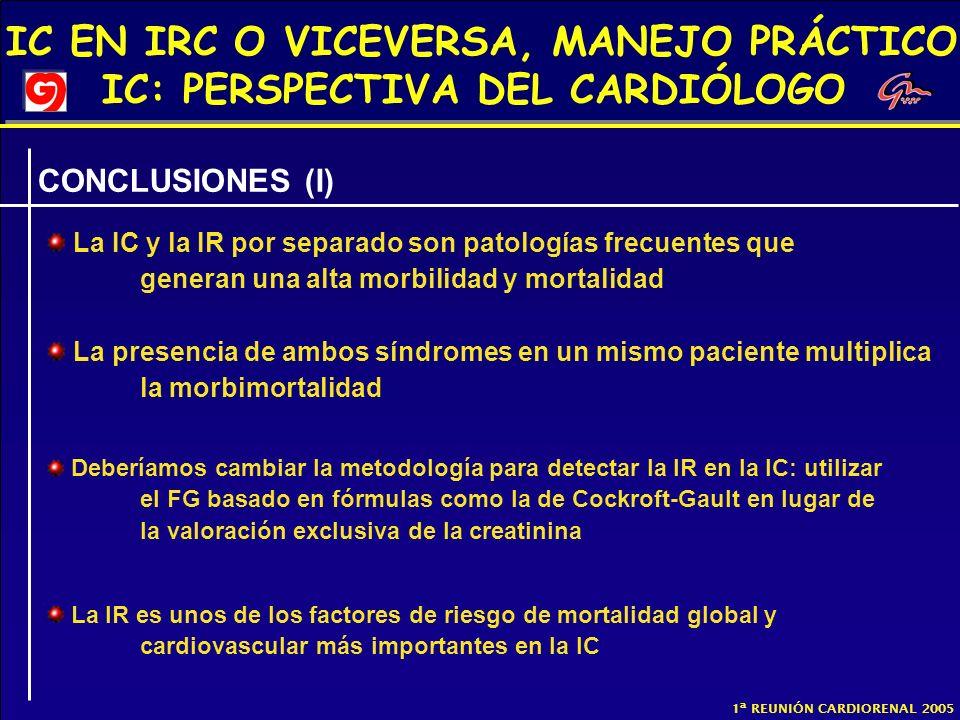 IC EN IRC O VICEVERSA, MANEJO PRÁCTICO IC: PERSPECTIVA DEL CARDIÓLOGO 1ª REUNIÓN CARDIORENAL 2005 CONCLUSIONES (I) La IC y la IR por separado son pato