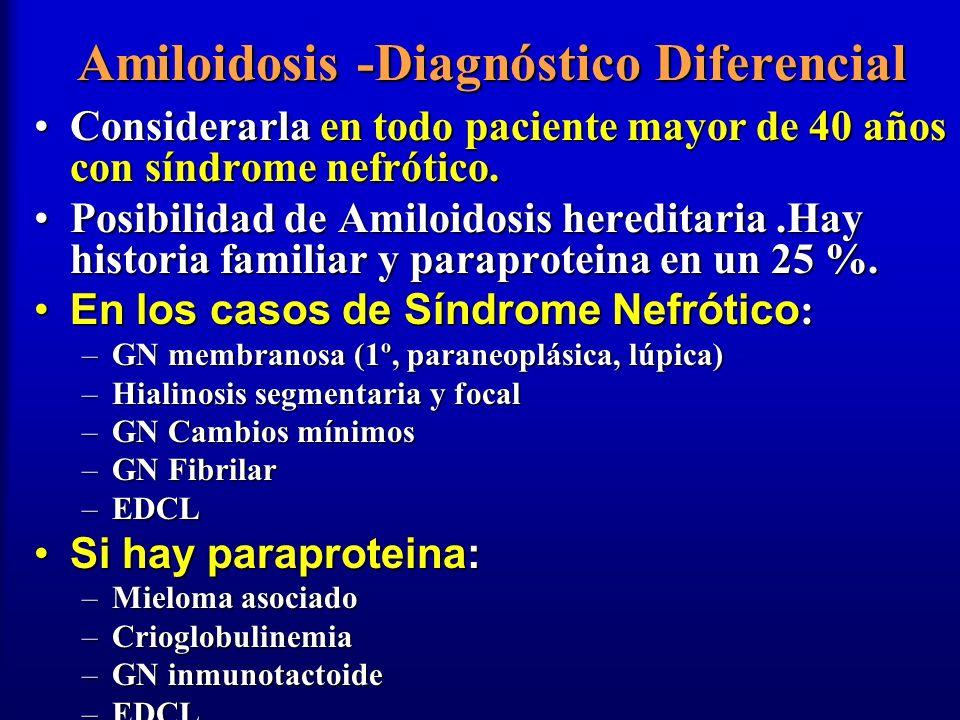 Amiloidosis -Diagnóstico Diferencial Considerarla en todo paciente mayor de 40 años con síndrome nefrótico.Considerarla en todo paciente mayor de 40 a