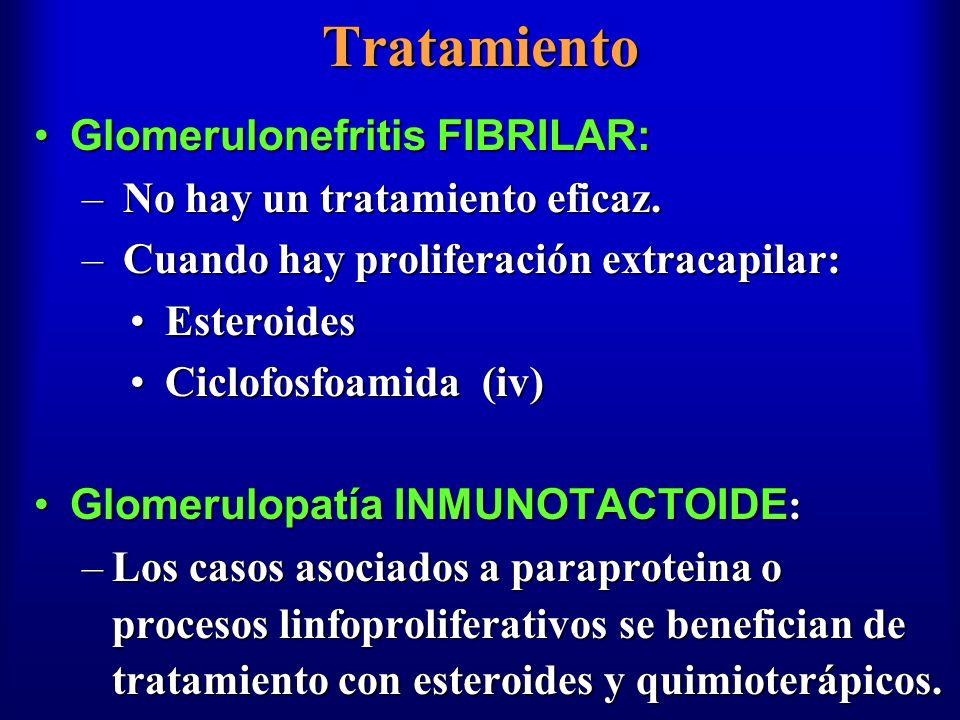 Tratamiento Glomerulonefritis FIBRILAR:Glomerulonefritis FIBRILAR: – No hay un tratamiento eficaz. – Cuando hay proliferación extracapilar: Esteroides