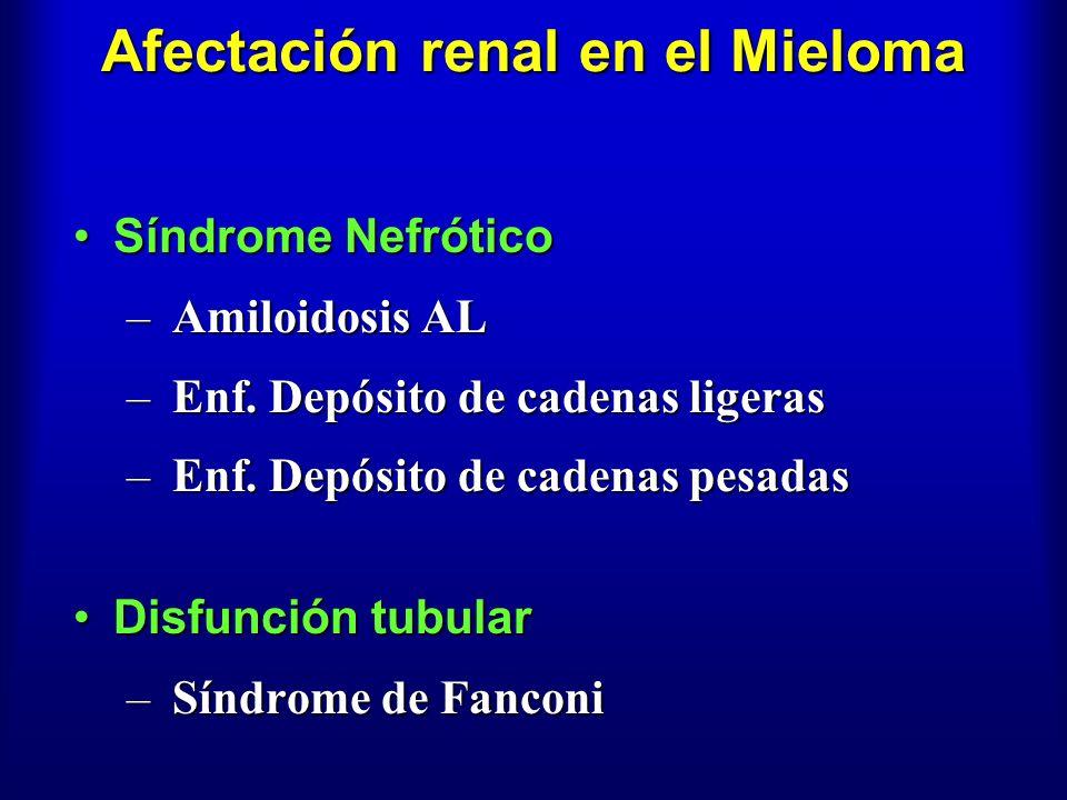 Afectación renal en el Mieloma Síndrome NefróticoSíndrome Nefrótico – Amiloidosis AL – Enf. Depósito de cadenas ligeras – Enf. Depósito de cadenas pes