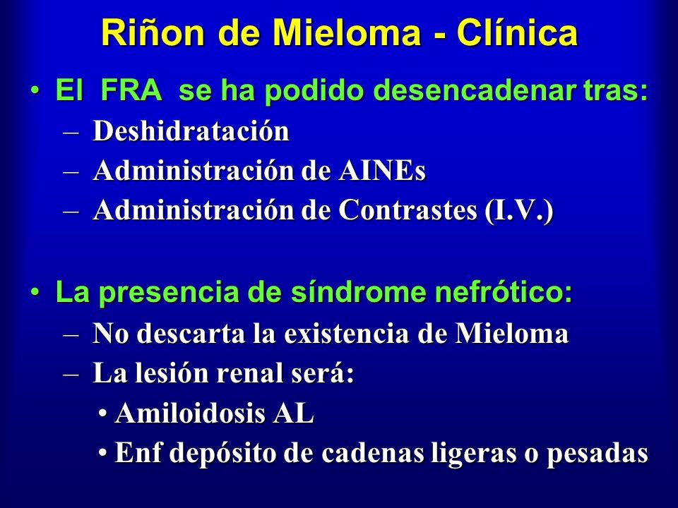 Riñon de Mieloma - Clínica El FRA se ha podido desencadenar tras:El FRA se ha podido desencadenar tras: – Deshidratación – Administración de AINEs – A