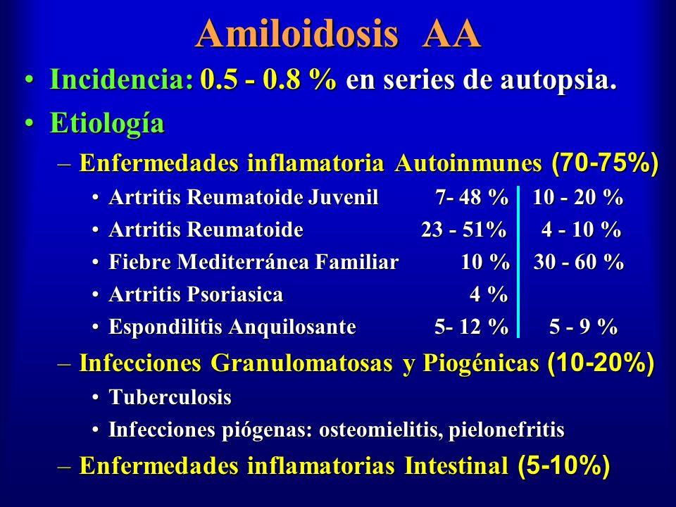 Amiloidosis AA Incidencia: 0.5 - 0.8 % en series de autopsia.Incidencia: 0.5 - 0.8 % en series de autopsia. EtiologíaEtiología –Enfermedades inflamato