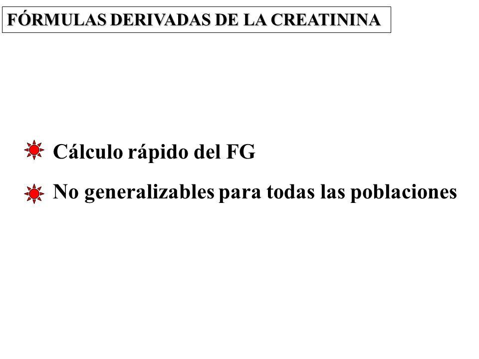 No generalizables para todas las poblaciones Cálculo rápido del FG FÓRMULAS DERIVADAS DE LA CREATININA