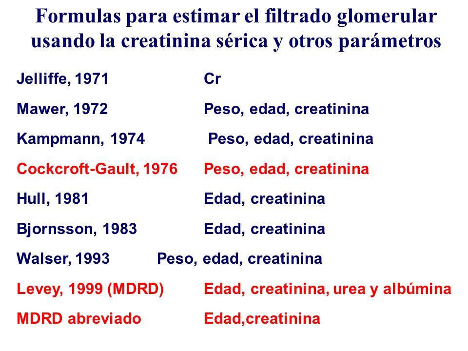 FÓRMULAS DERIVADAS DE LA CREATININA COCKCROFT-GAULT Cl creatinina (mL/min) [140 – Edad (años)] x Peso (Kg) [72 x Cr (mg/dL)] = X 0,85 mujeres
