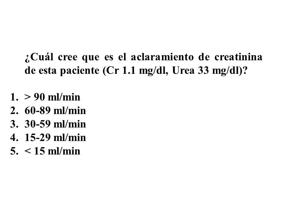 ¿Cuál cree que es el aclaramiento de creatinina de esta paciente (Cr 1.1 mg/dl, Urea 33 mg/dl).