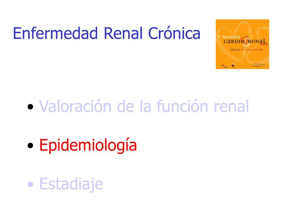 Valoración de la función renal Epidemiología Estadiaje Enfermedad Renal Crónica