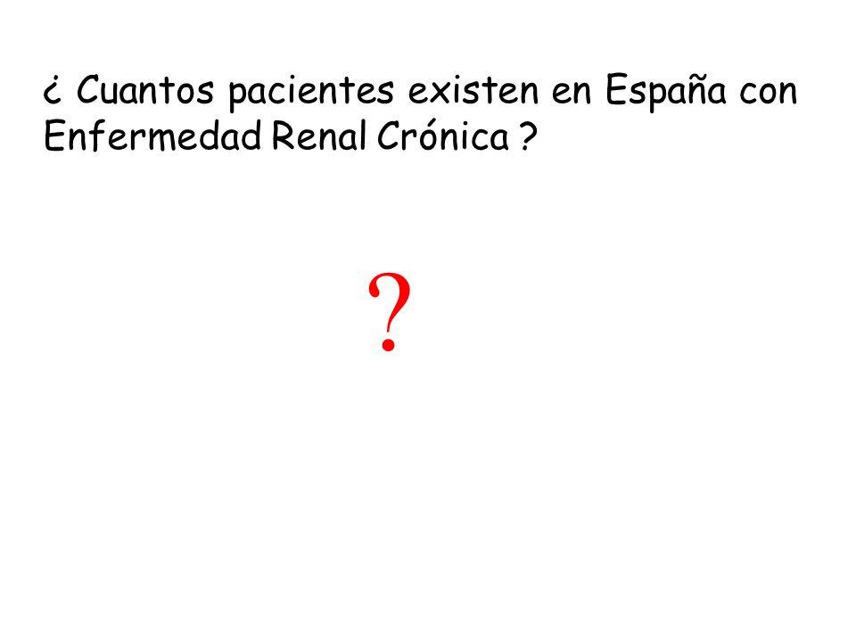 ¿ Cuantos pacientes existen en España con Enfermedad Renal Crónica ? ?