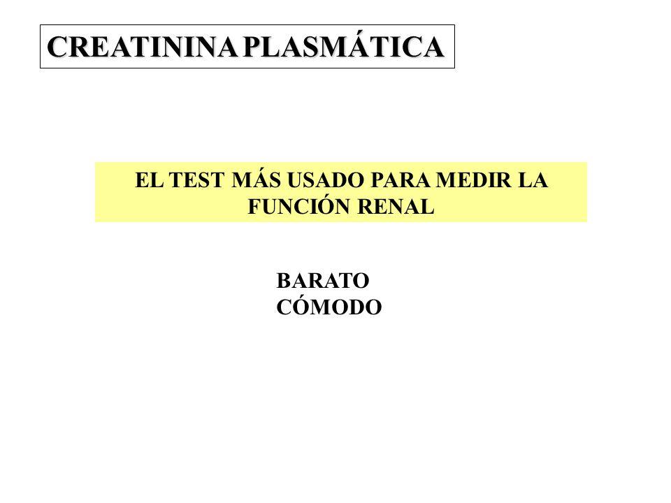 CREATININA PLASMÁTICA EL TEST MÁS USADO PARA MEDIR LA FUNCIÓN RENAL BARATO CÓMODO