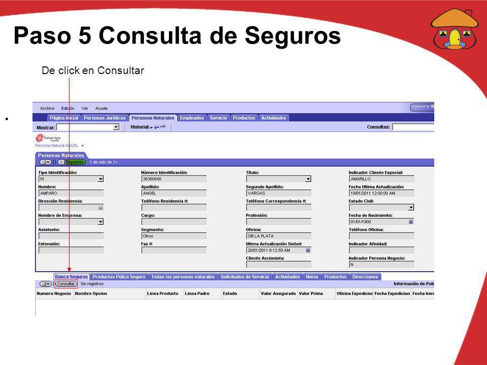 Paso 5 Consulta de Seguros De click en Consultar