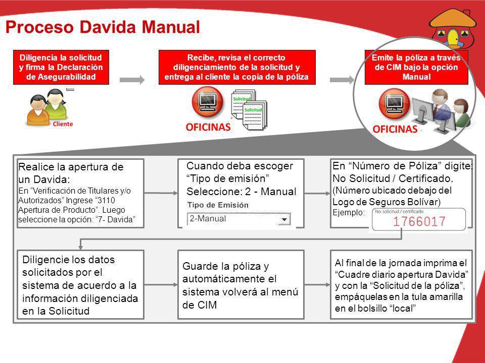 Proceso Davida Manual Diligencia la solicitud y firma la Declaración de Asegurabilidad Recibe, revisa el correcto diligenciamiento de la solicitud y e