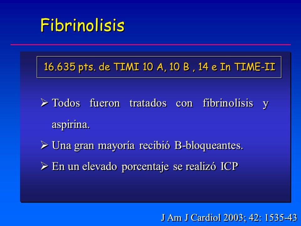 Fibrinolisis Todos fueron tratados con fibrinolisis y aspirina.