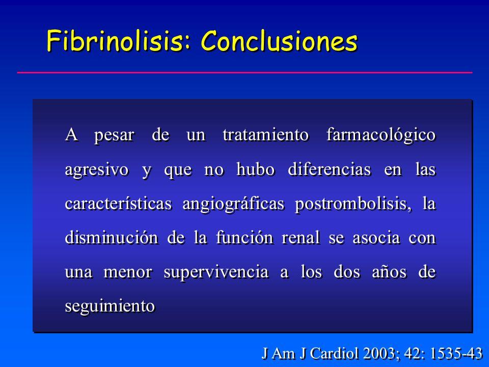 Fibrinolisis: Conclusiones A pesar de un tratamiento farmacológico agresivo y que no hubo diferencias en las características angiográficas postrombolisis, la disminución de la función renal se asocia con una menor supervivencia a los dos años de seguimiento J Am J Cardiol 2003; 42: 1535-43