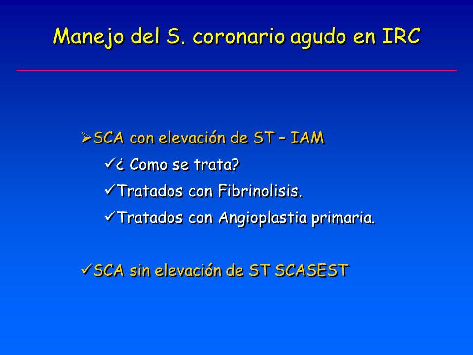 Manejo del S.coronario agudo en IRC SCA con elevación de ST – IAM ¿ Como se trata.