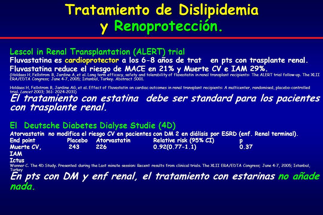 Lescol in Renal Transplantation (ALERT) trial Fluvastatina es cardioprotector a los 6-8 años de trat en pts con trasplante renal.
