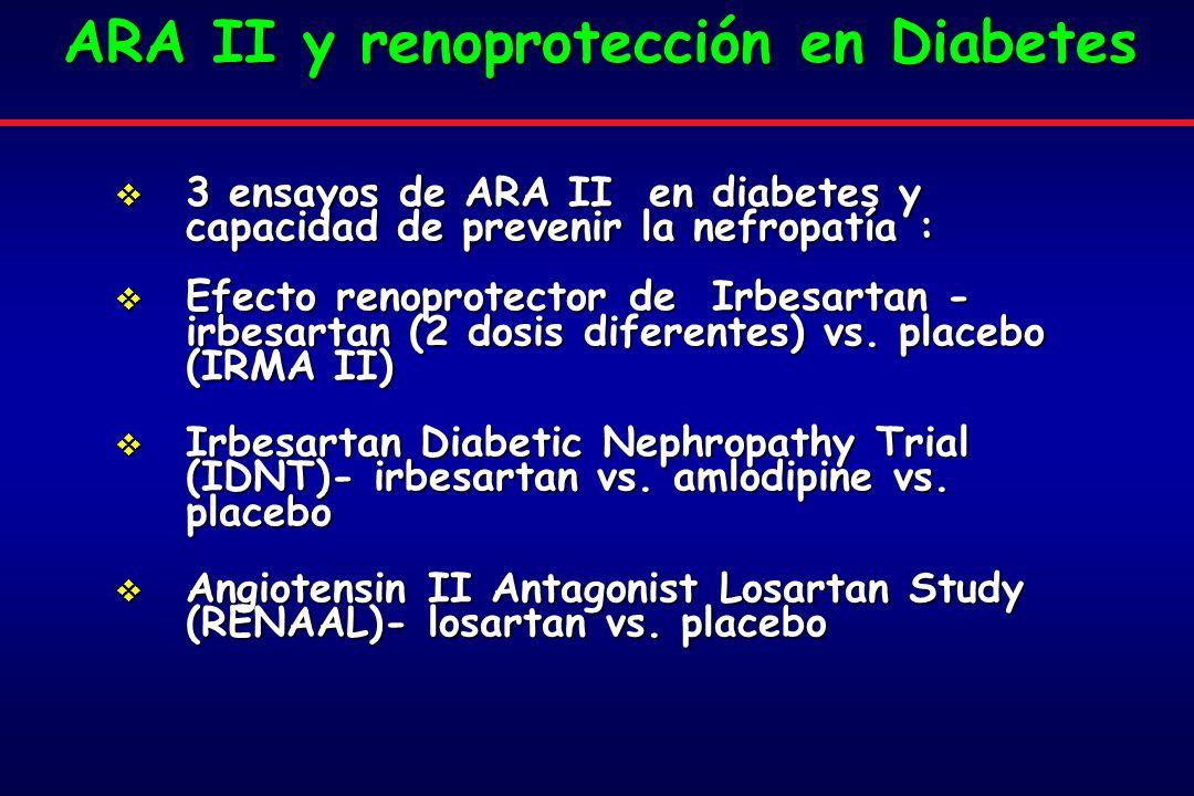 3 ensayos de ARA II en diabetes y capacidad de prevenir la nefropatía : 3 ensayos de ARA II en diabetes y capacidad de prevenir la nefropatía : Efecto renoprotector de Irbesartan - irbesartan (2 dosis diferentes) vs.