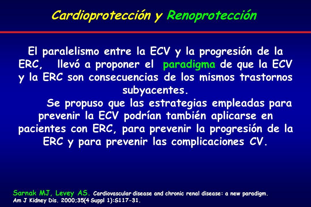El paralelismo entre la ECV y la progresión de la ERC, llevó a proponer el paradigma de que la ECV y la ERC son consecuencias de los mismos trastornos subyacentes.